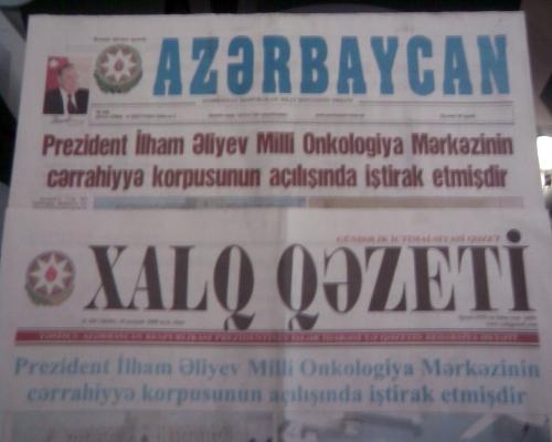 Azərbaycan və Xalq qəzetləri, 18 sentyabr, 2009